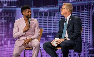 usher at on on-stage interview