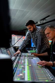 sound team broadcasting a hybrid event